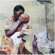 This fine art giclée print from original painting by Gill Drew shows a tender African mother and baby scene in light creams with a touches of warm deeper tones