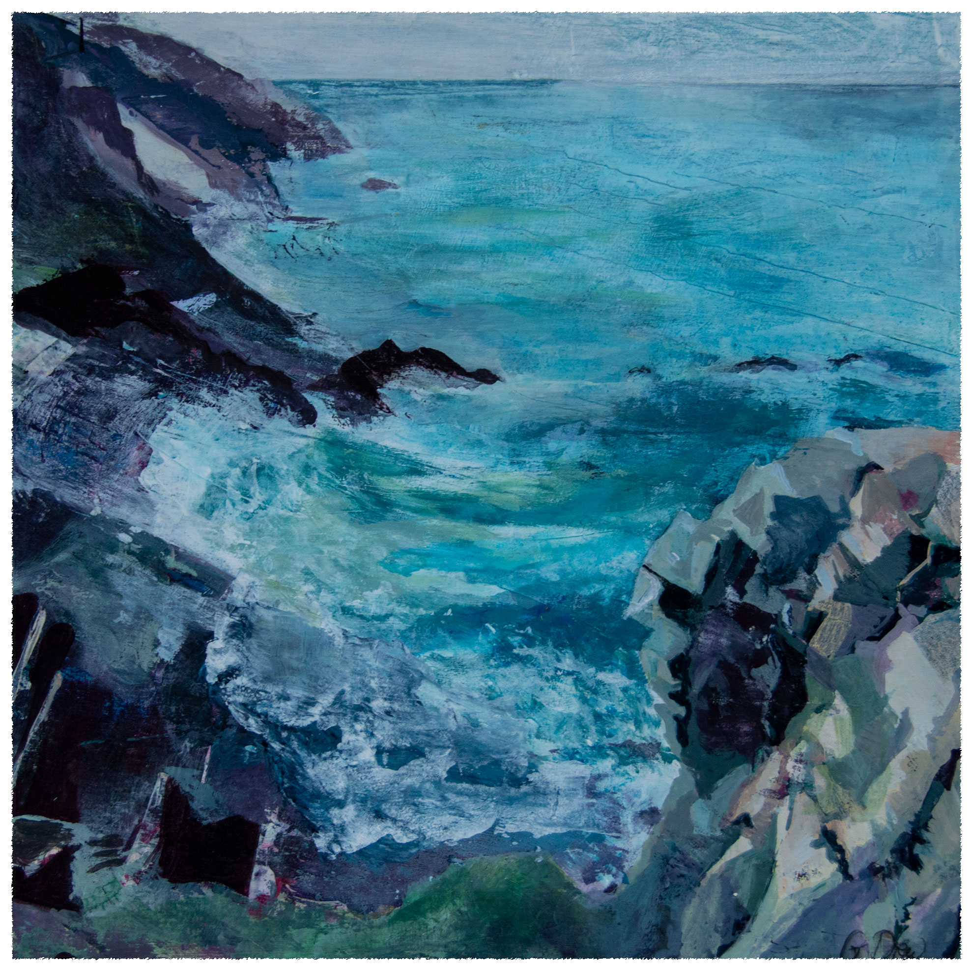 Cornish seascape. Acrylic painting by Gill Drew