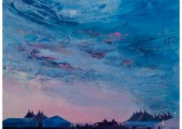 Heavenly skies. Acrylic painting by Gill Drew