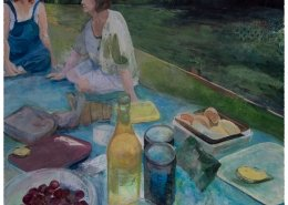 Mottisfont picnic. Acrylic painting. Of two friends picnicking by the river by Gill Drew