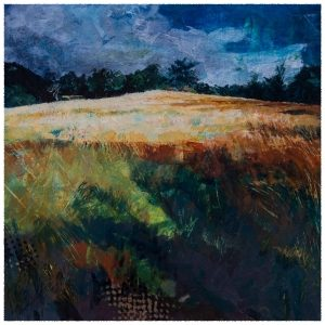 Summer fields. Acrylic painting by Gill Drew.