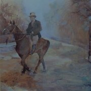 Looking ahead. Acrylic painting of a man on his horse around 1910 by Gill Drew