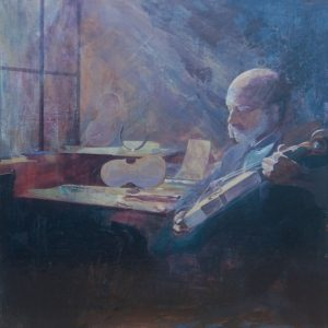 The pieces in his hands. Acrylic painting of a violin maker in the workshop by Gill Drew
