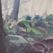 A close up detail from acrylic painting called Waymaker. This detail shows the mossy rocks and tree roots by Gill Drew