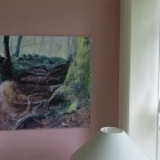 "An image showing the acrylic painting ""Waymaker"" in a living room location by Gill Drew"