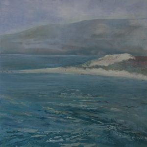 The beach to ourselves. Acrylic on canvas of shell bay in Dorset by Gill Drew