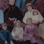 Fixing my gaze acrylic painting of family group around 1918 by Gill Drew