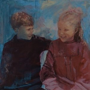 Siblings. Acrylic painting of two siblings from a historical photograph around 1918 by Gill Drew