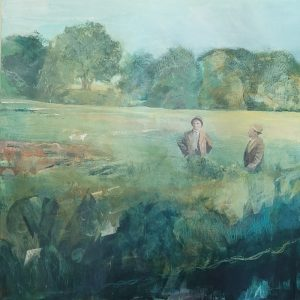 The return of spring acrylic painting on canvas of a timeless landscape by Gill Drew