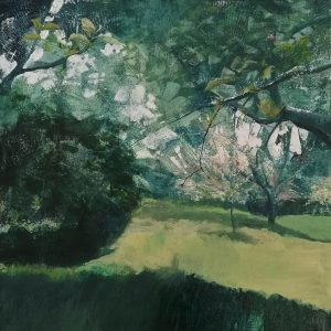 First the blossom acrylic on canvas of apple and cherry tree blossom by Gill Drew