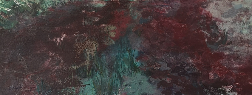 Soft earth. Acrylic painting on canvas of red earth and spring trees with a speckled wood butterfly by Gill Drew
