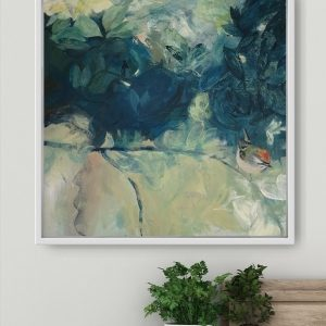 Hidden encounter acrylic painting on canvas in a white frame room photo by Gill Drew