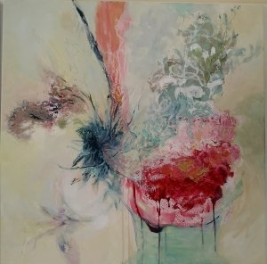 An acrylic painting on canvas of faded roses by Gill Drew