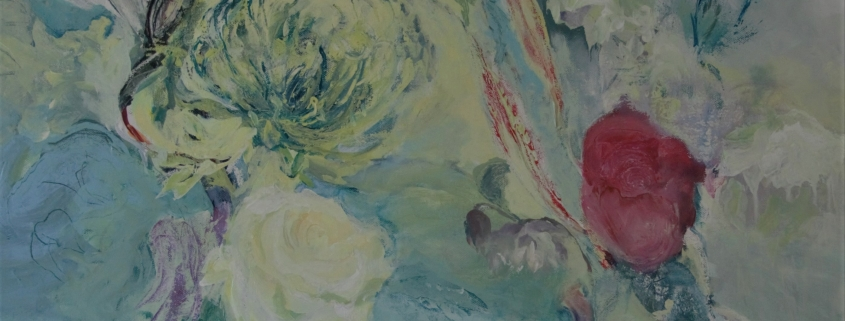 Acrylic painting on canvas of two vases of flowers with an abundance of soft colour and mark-making titled Butterfly dance by Gill Drew