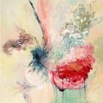 """""""Fill me up"""" acrylic painting by Gill Drew of a still life vase of flowers with loose textural marks"""