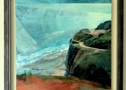 Here we sit an acrylic painting by Gill Drew of a coast path scene