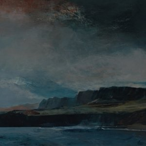 Landscape along the Dorset coast path painted in acrylic on panel by Gill Drew