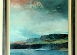 In the grand scheme of things an acrylic painting of a rocky seacliff in a beautiful slate grey frame by Gill Drew