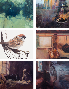 Montage of six prints from original paintings by Gill Drew