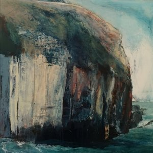 Acrylic painting on panel of a cliff face with a tiny gate perched on the top by Gill Drew