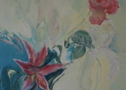 Mixed media canvas using flowers as a theme with pale opaque colours alongside deeper saturated colours by Gill Drew