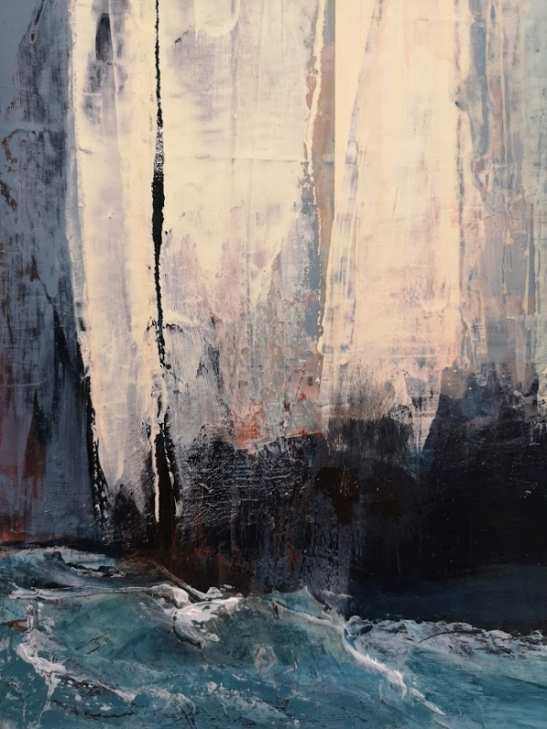"""Detail of """"On this rock"""" acrylic painting of cliff face and sea by Gill Drew"""