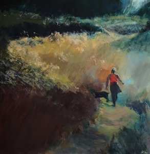 Liberated is an acrylic painting by Gill Drew with a striding figure in a landscape with high contrast